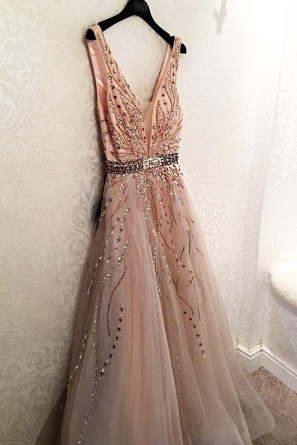 Elegant V Neck Open Back Long Prom Dress Tulle Party Dress with Beading P865