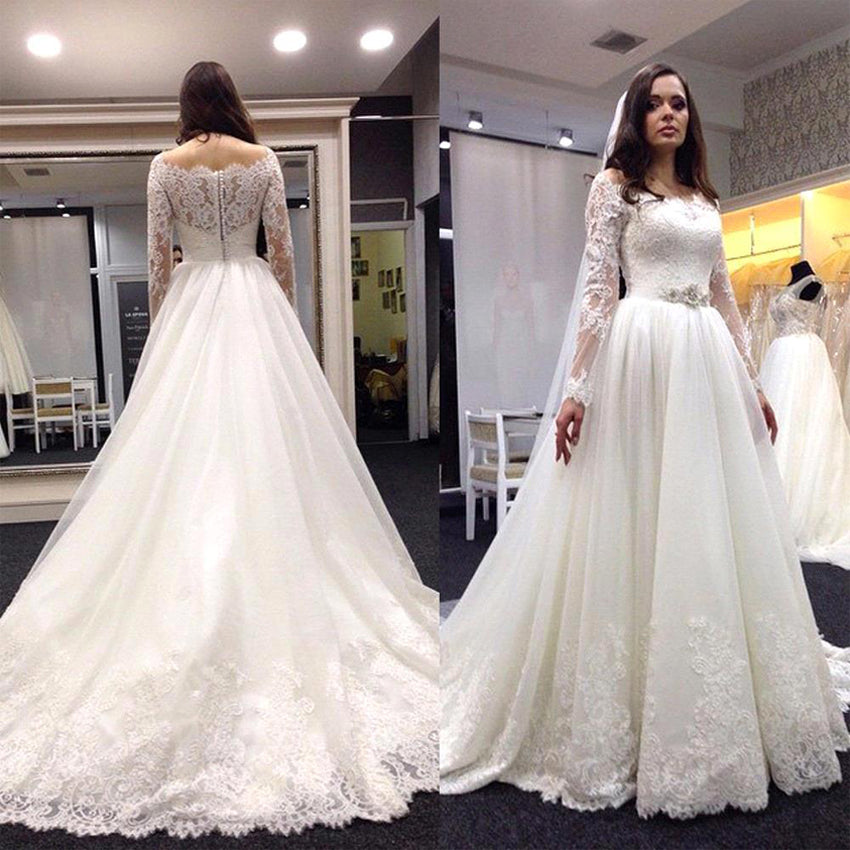 Elegant Long Sleeves Off The Shoulder Tulle Lace Appliques With Trailing Wedding Dress W417