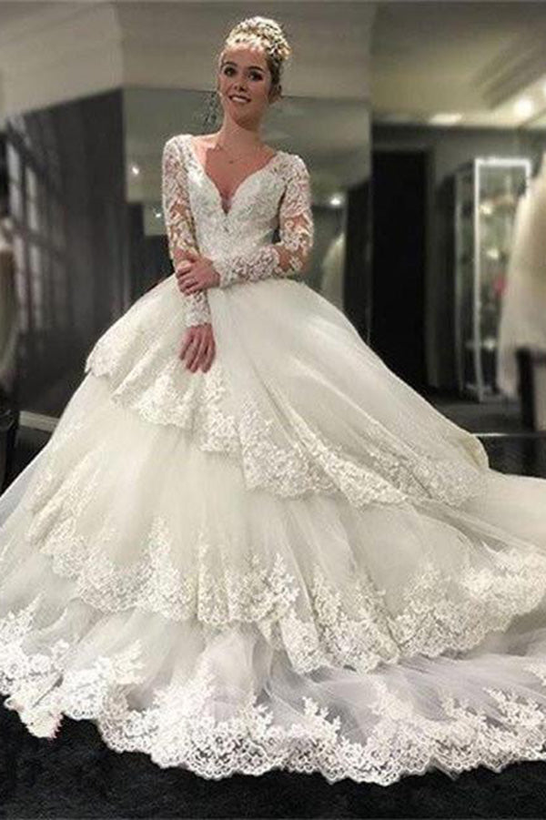 Gorgeous Deep V Neck Long Sleeves Lace Appliques Wedding Dresses W360