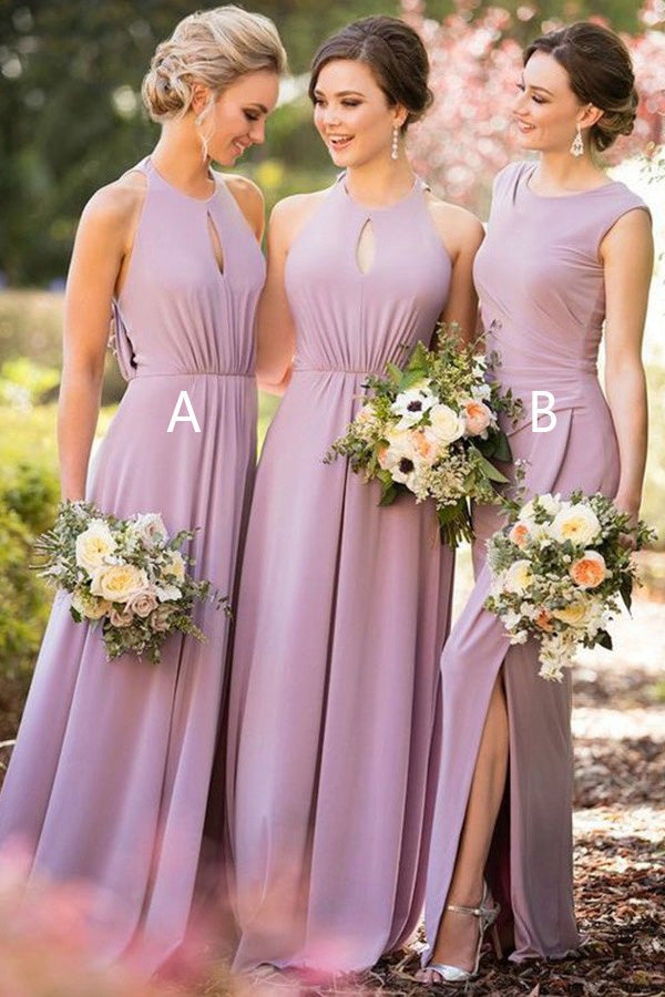 Gorgeous Chiffon Split Side Sleeveless Floor Length Bridesmaid Dress B413