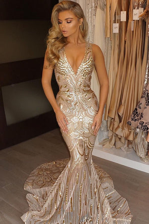 2633a42ac0b Golden Trumpet Court Train Deep V Neck Sleeveless Sparkle Long Prom Dress