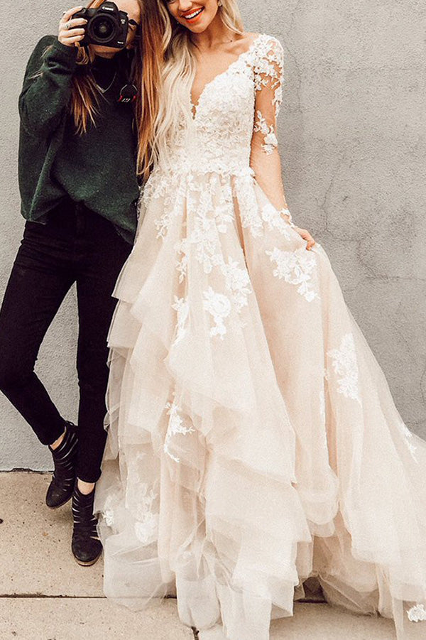 Delicate V Neck Long Sleeves Sweep Train With Appliques Ruffles Wedding Dress W405