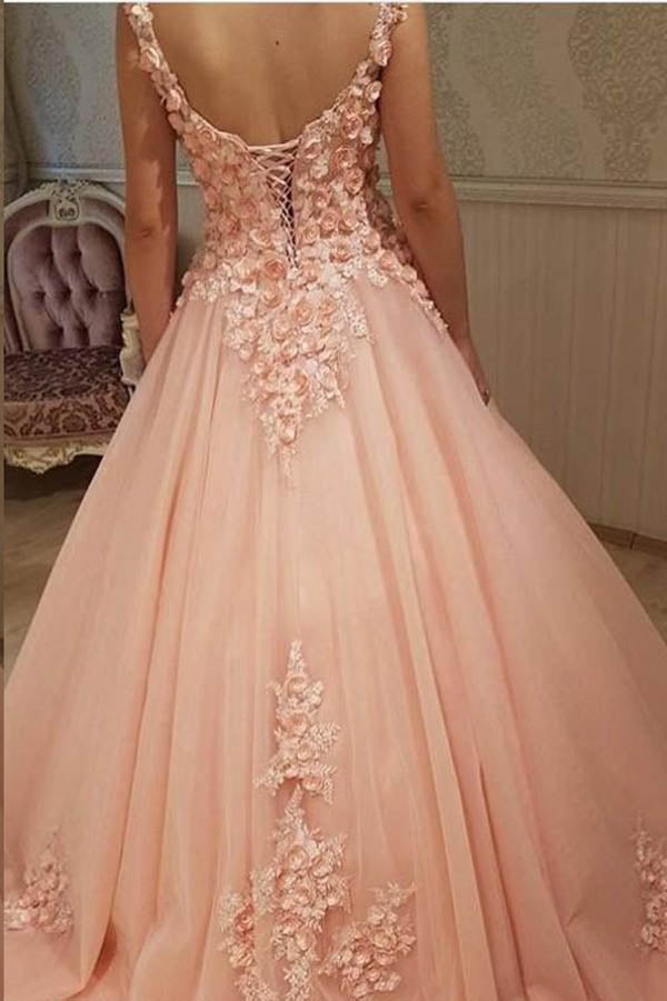 Impressive Sweetheart Sleeveless Flower Appliques A Line Prom Dress P704
