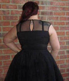 Charming Black Plus Size A Line Organza Homecoming Dress M542 - Ombreprom