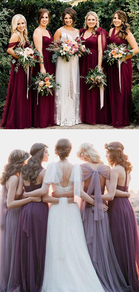 Charming Burgundy Tulle Various Styles Long Bridesmaid Dress B398 - Ombreprom