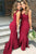 Impressive Red Mermaid V Neck Floor Length Bridesmaid Dress B410