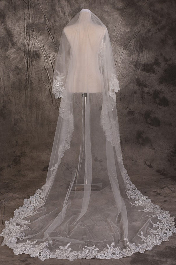 Long One Tier Lace Edge Cathedral Veil With Sequins Wedding Veils V25