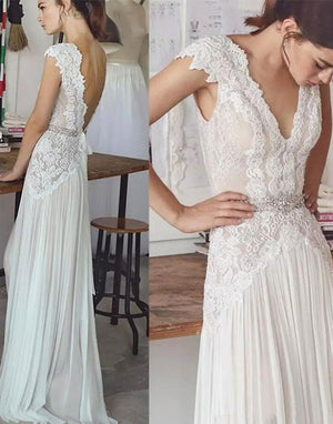 37c6de5cacb Simple Open Back With Lace Appliques Floor Length Wedding Dresses W350