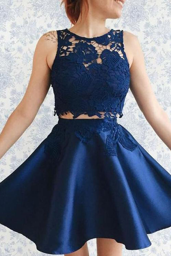 Impressive Two Piece Lace Round Neck With Appliques Homecoming Dress M509