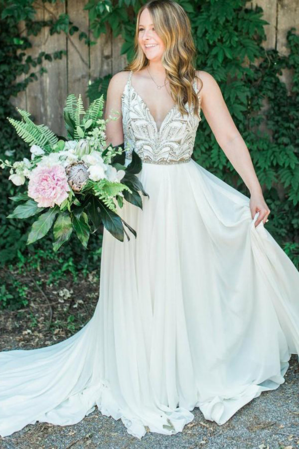Charming Chiffon Spaghetti Strap With Beaded Wedding Dress W323 - Ombreprom