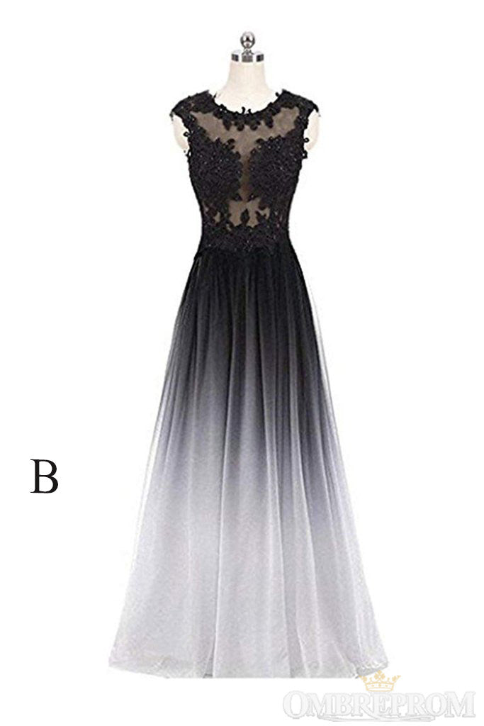 Simple Round Neck Lace Appliques Ombre Prom Dress D263