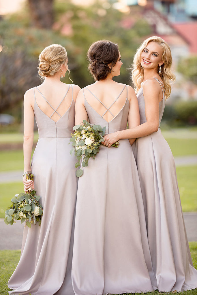 Delicate Spaghetti Straps V Neck Sleeveless Floor Length Bridesmaid Dress B375