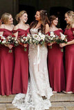 Simple Spaghetti Straps Off the Shoulder Floor Length Bridesmaid Dress B382