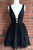 Sexy Deep V Neck Homecoming Dresses, Sleeveless Beaded Lace Up Short Prom Dress HCD75 - Ombreprom