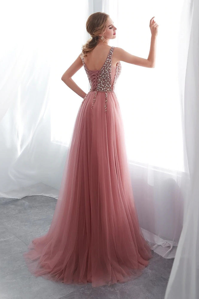 Delicate A Line V Neck Sleeveless Sweep Train Beading Prom Dress with Split Side P834