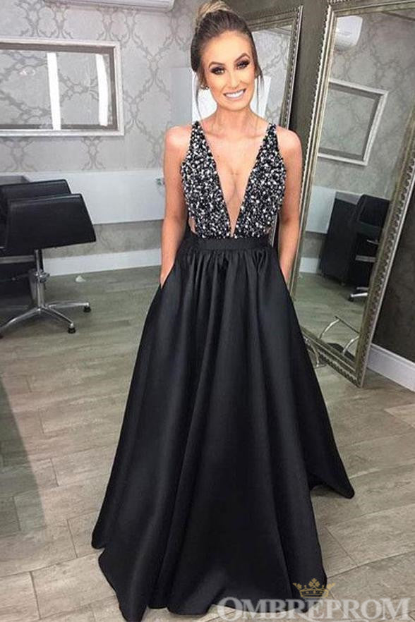 1fc2a1f73f Black Deep V Neck Backless A Line Prom Dress with Beading D98 ...