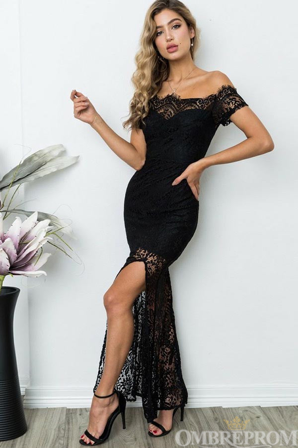 Black Prom Dress Lace Off Shoulder Short Sleeves Event Dress with Split Side D63