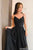 Black Prom Dress V Neck Spaghetti Straps Lace Evening Dress D157