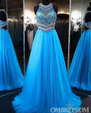 Blue Halter Sleeveless A Line Prom Dress with Beading D298
