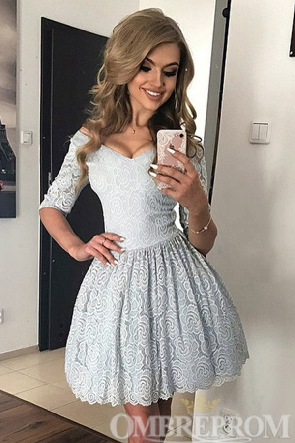 Blue Off Shoulder Half Sleeves Lace Homecoming Dress M671