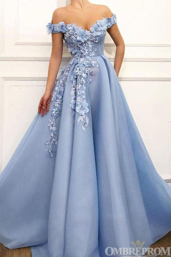 Blue Prom Dress Off Shoulder Flower Appliques Long Party Dress D72