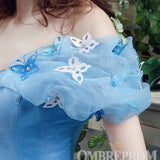 Blue Prom Dress Off Shoulder Sweetheart Ball Gown with Appliques D232