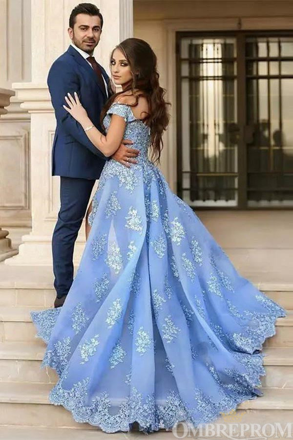 Blue Prom Dress Off Shoulder Sweetheart Lace Long Ball Gown D50