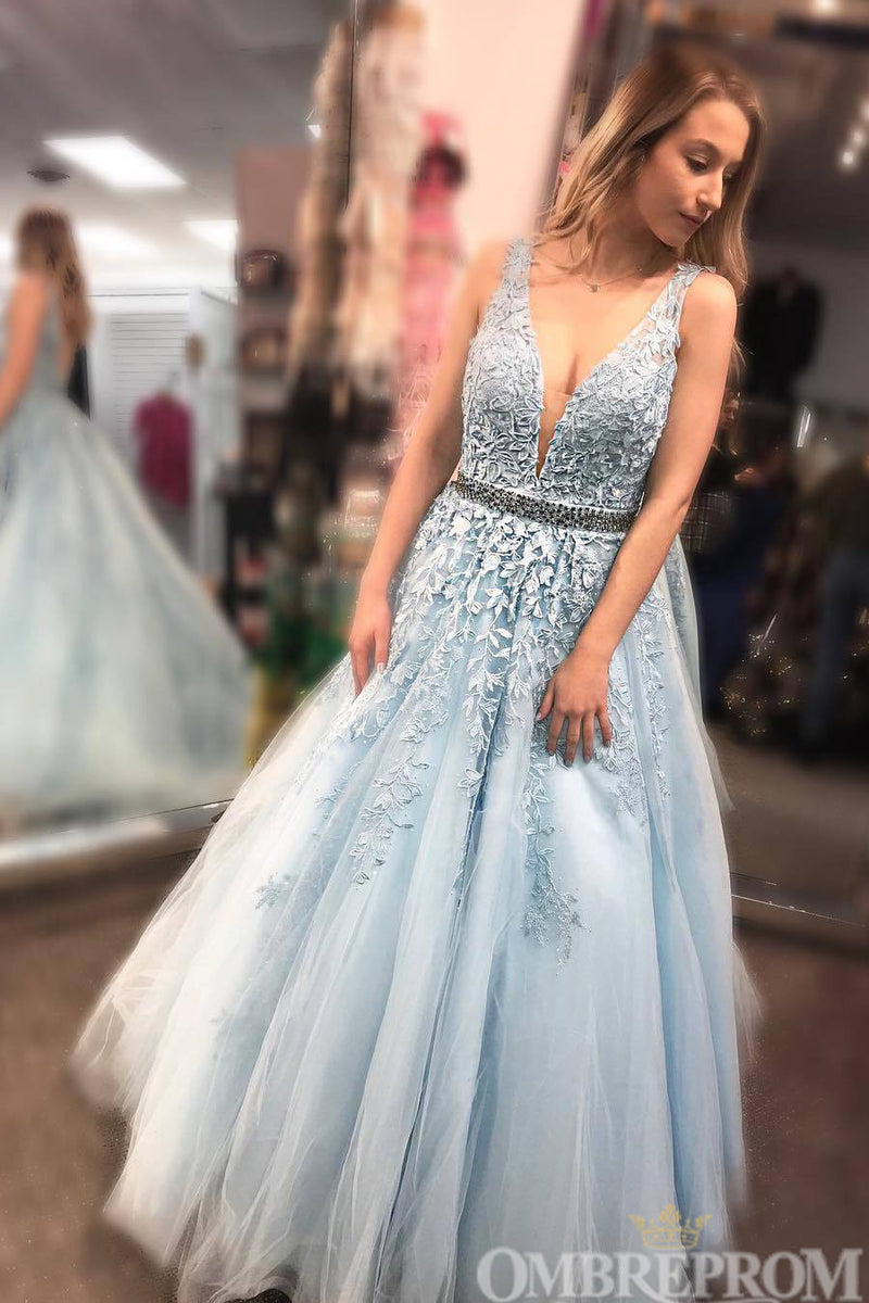 Blue Prom Dress V Neck A Line Lace Appliques Ball Gown with Beading D125
