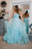 Blue Ruffles Backless Party Dresses Spaghetti Straps Tulle Prom Dresses D08