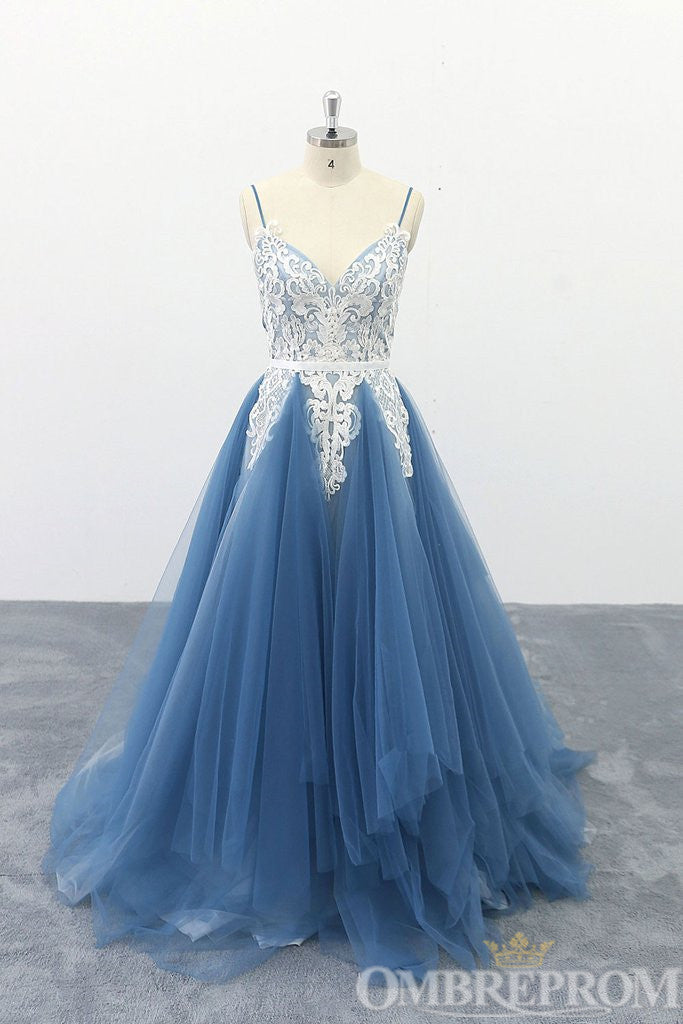 Blue Spaghetti Straps V Neck A Line Prom Dress D347