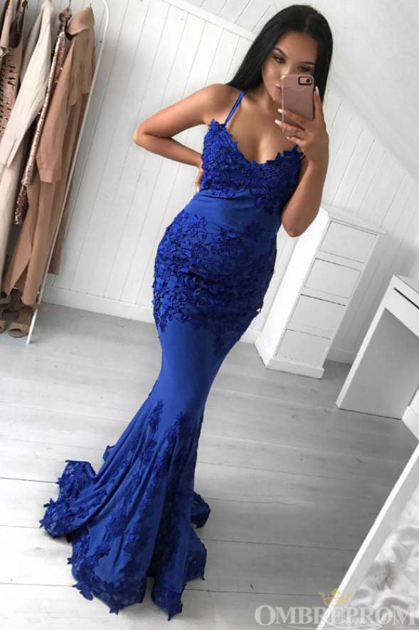 Blue Spaghetti Straps V Neck Sleeveless Mermaid Prom Dress D29