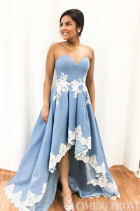 Blue Sweetheart Strapless High Low Lace Prom Dress D158