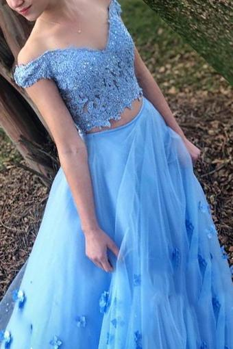 Blue Two Piece Graduation Gown Off Shoulder A Line Long Prom Dress D10