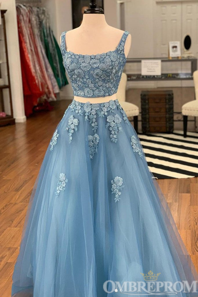 Blue Two Piece Lace A Line Prom Dress with Appliques D337
