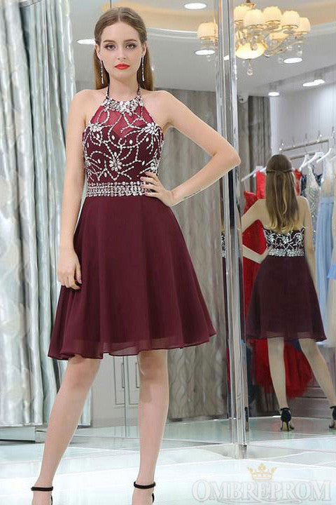 Burgundy Halter Low Back Short Prom Dress with Beading M649