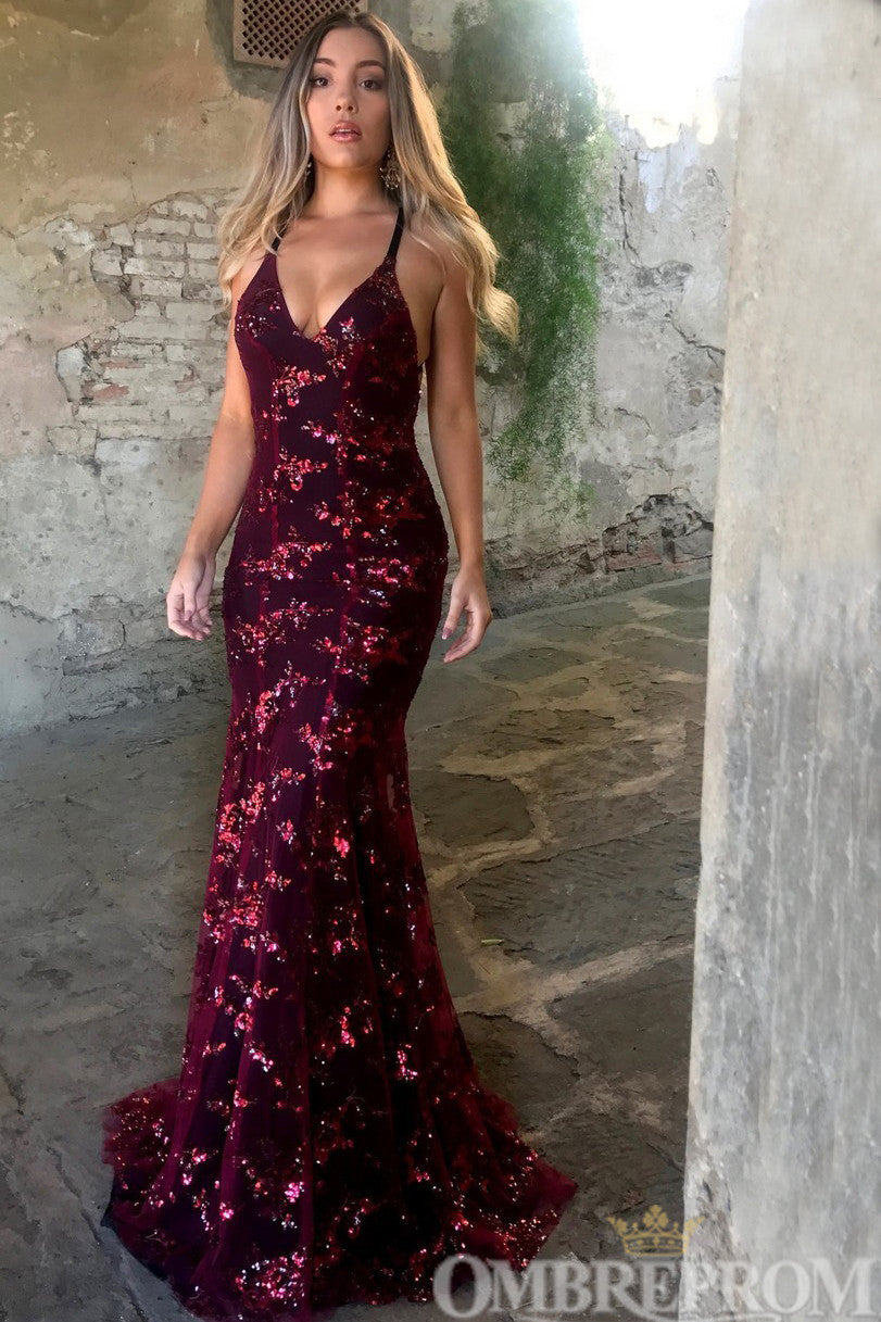 Burgundy Party Dress V Neck Backless Mermaid Prom Dress with Sequins D186