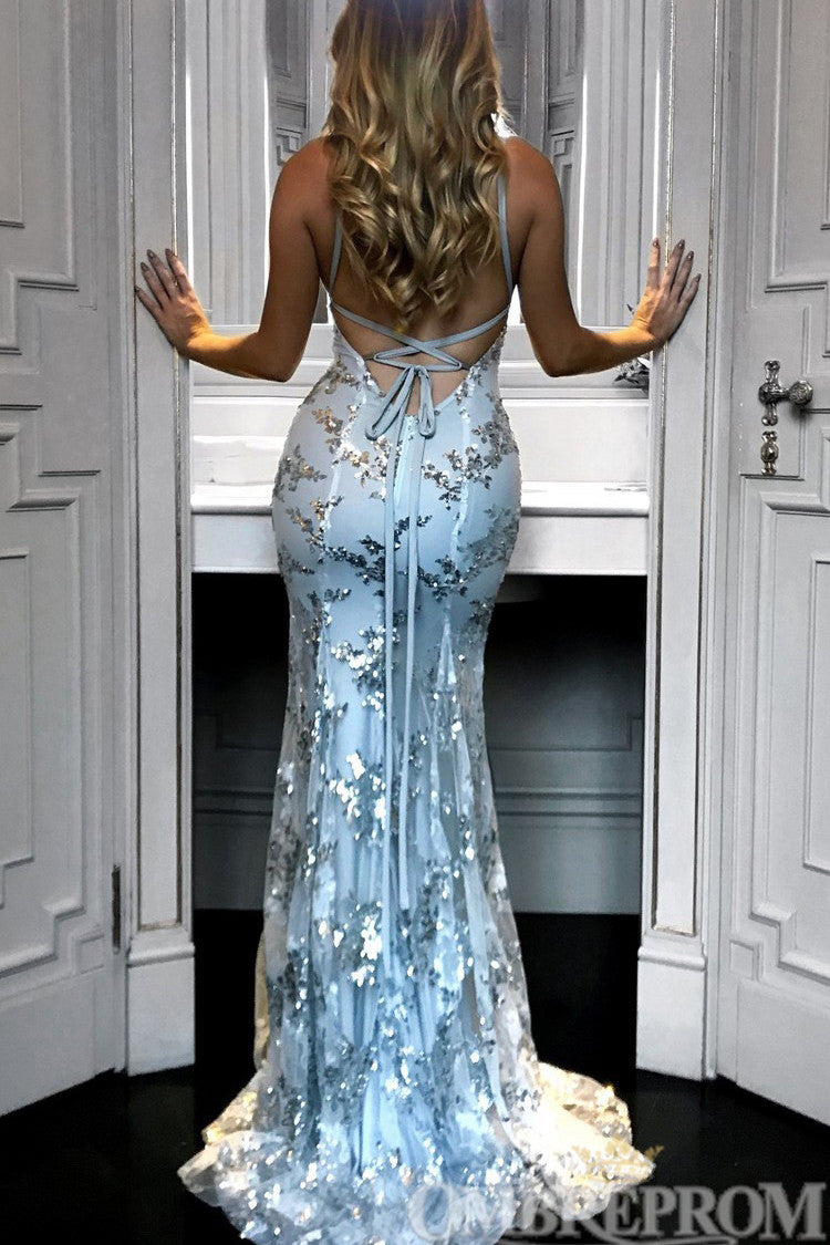 Navy Blue Formal Dress V Neck Backless Mermaid Prom Dress with Sequins D187