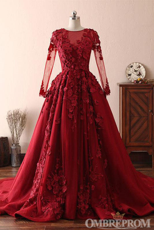 Ombreprom Modest Elegant Burgundy Scoop Neck Long Sleeves Ball Gown Prom Dresses With Appliques D303