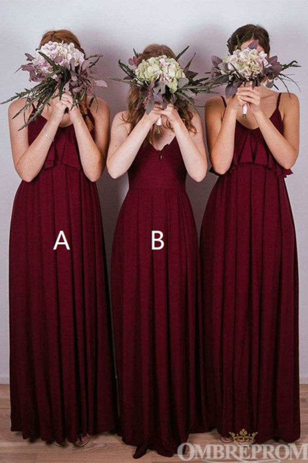 Burgundy Spaghetti Straps Floor Length Long Bridesmaid Dress B499