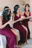 Burgundy Spaghetti Straps V Neck Bridesmaid Dress with Split Side B509