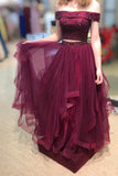 Burgundy Two Piece Prom Dress Off Shoulder Graduation Dress D208