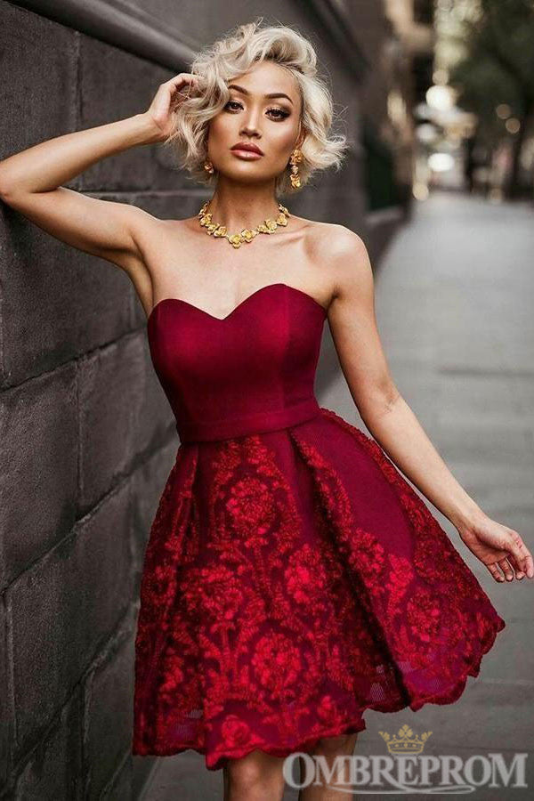 Charming Burgundy Sweetheart Strapless Lace Prom Dress M659
