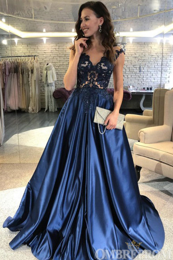 Charming Cap Sleeves V Neck Satin A Line Lace Prom Dress D132
