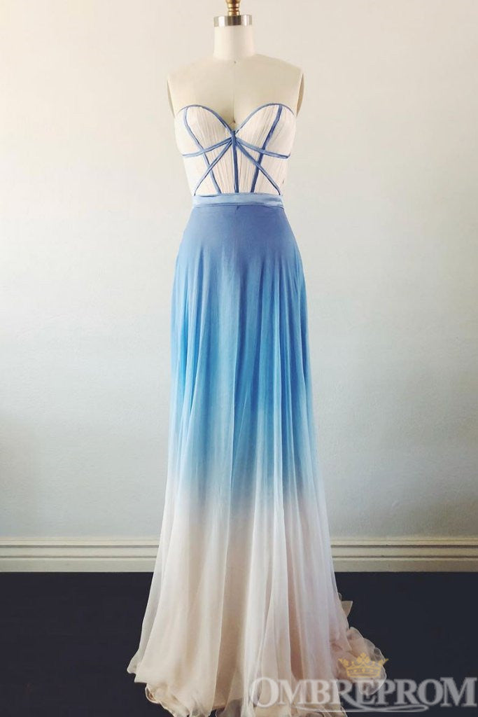 Charming Chiffon Sweetheart Ombre Prom Dress D329