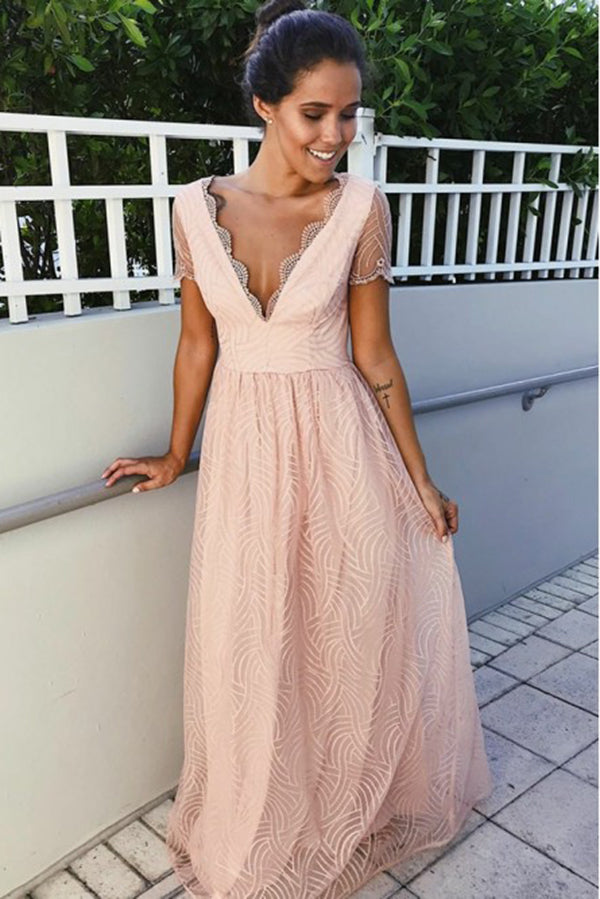 Charming Deep V Neck Short Sleeves Long Prom Dress D381