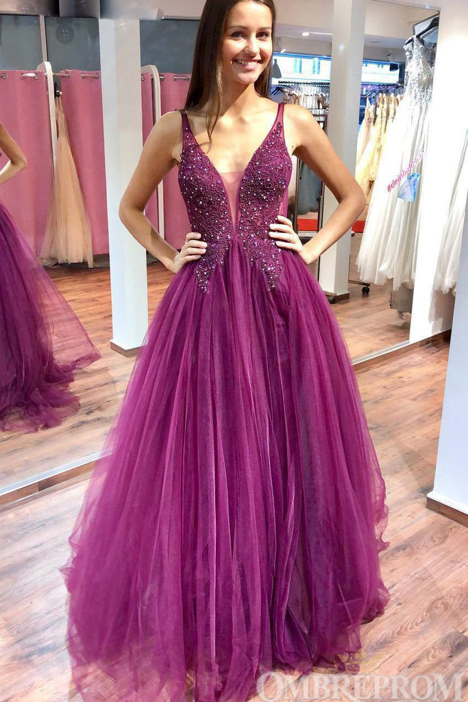 Charming Deep V Neck Sleeveless Tulle Prom Dress with Beading D121