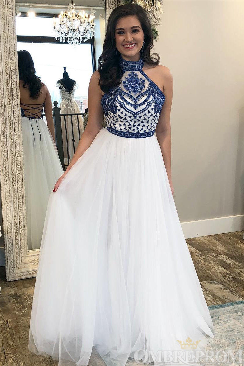 Charming Halter Event Dress Sleeveless A Line Prom Dress with Embroidery D155