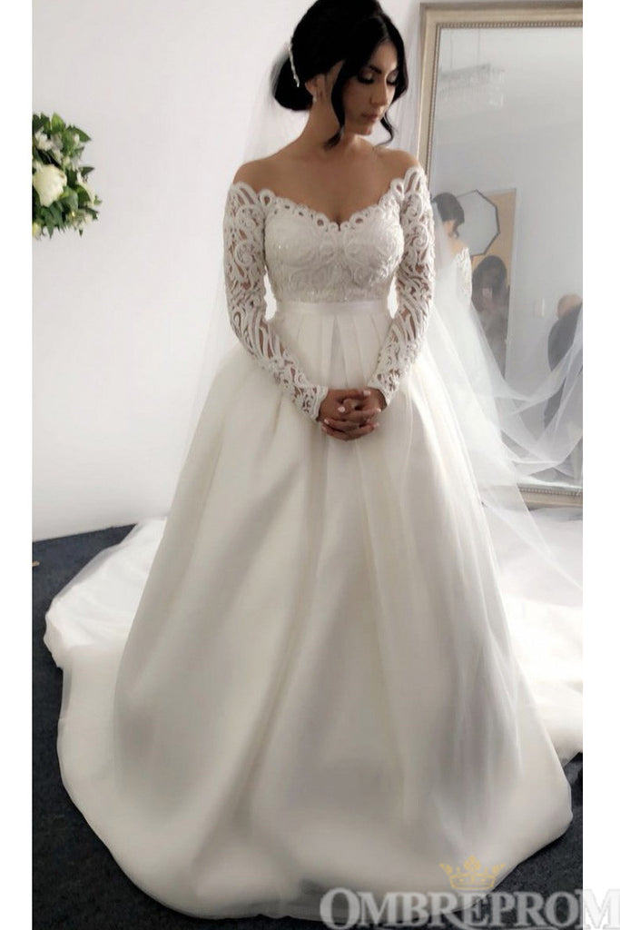 Charming Long Sleeves V Neck A Line Lace Top Wedding Dress W671