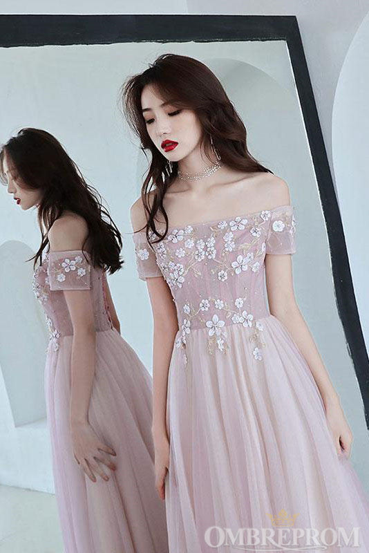 Charming Off Shoulder A Line Appliques Long Prom Dress D304