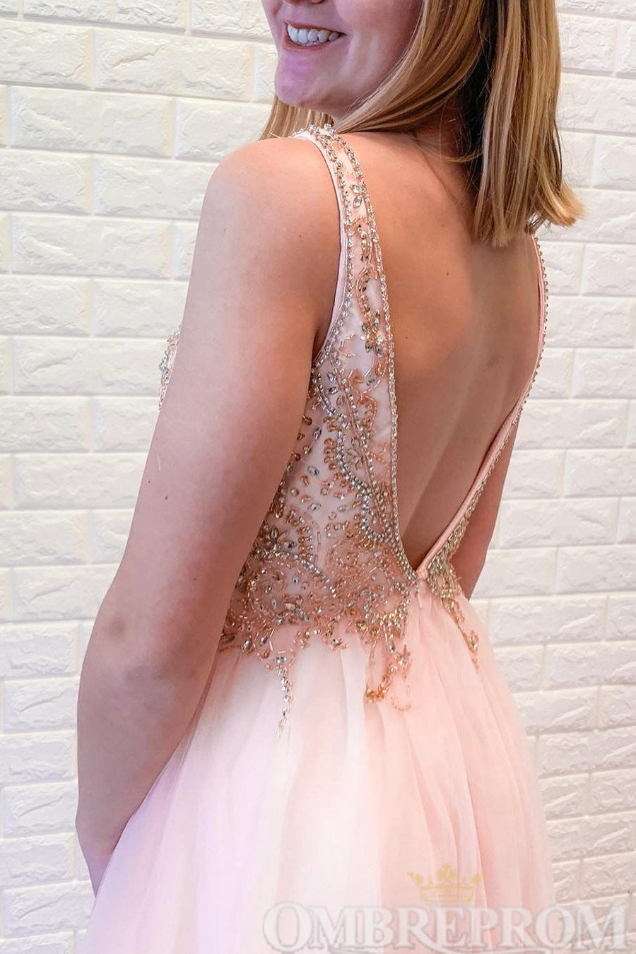Charming Pink V Neck Prom Dress with Beading Evening Dress D231